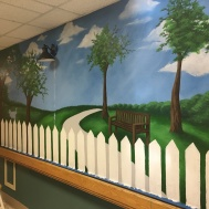 Mural in progess at a nursing home