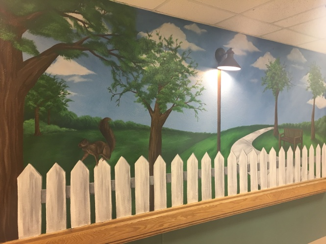 This Mural is placed inside a nursing home in Houston Tx. The park depiction extends to 2 additional walls not seen here.
